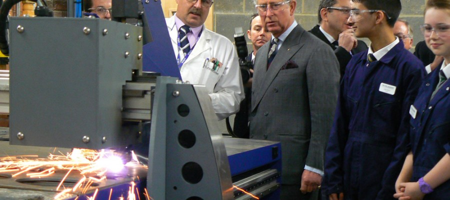 HRH the Prince of Wales Views PlasmaCUT Machine at The JCB Academy
